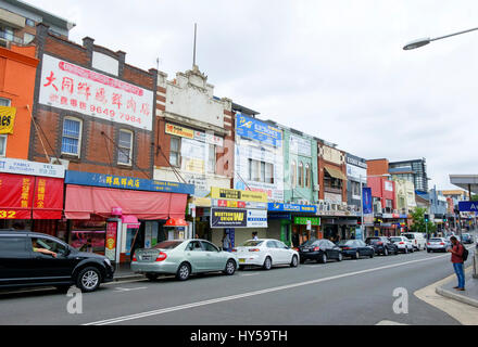 Main street of Auburn, a multicultural suburb of Western Sydney, Australia. Australian multiculturalism; shops; - Stock Image