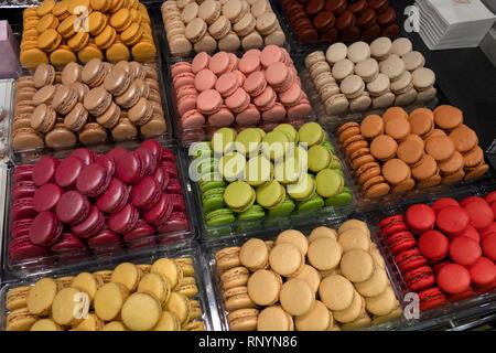 Macarons for sale at the Café Pouchkine, Printemps department store, Paris, France - Stock Image