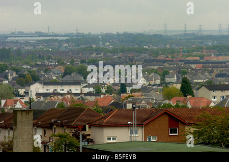 General View of the town of Bellshill in South Lanarkshire scotland Pictured Housing estates in the town - Stock Image