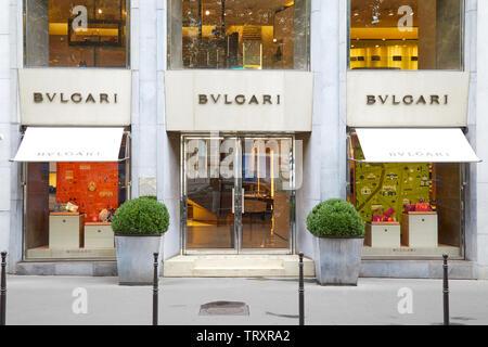 PARIS, FRANCE - JULY 22, 2017: Bulgari fashion luxury store in Paris, France. - Stock Image