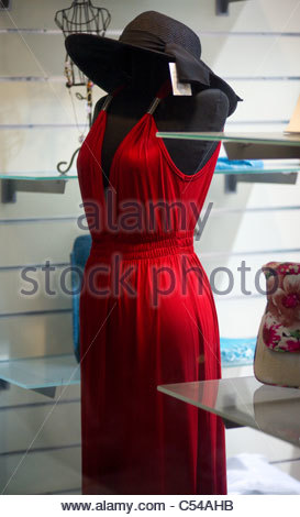 Clothes shopping in Greece - Stock Image