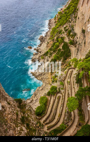 Via Krupp is a historic switchback paved footpath on the island of Capri, connecting the Charterhouse of San Giacomo and the Gardens of Augustus area  - Stock Image