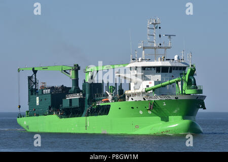 LNG-powered Hopper Dredger Scheldt River - Stock Image