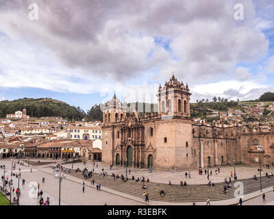 Cusco, Peru - January 3, 2017. View of the Cusco Cathedral seen from a window of the Compañia de Jesus church - Stock Image