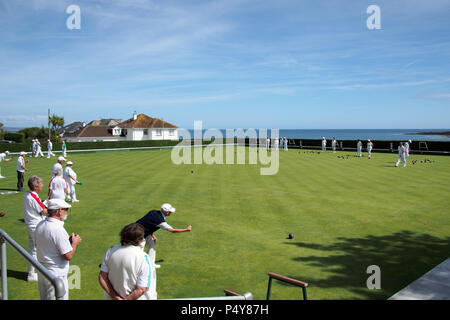 people playing bowls at Looe bowling club in Looe Cornwall UK - Stock Image