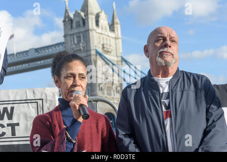 London, UK. 3rd November 2018. Two of the younger residents of Mackintosh Court speak about the council's illegal alterations on their Grade II listed building, which they intend to demolish, making the residents, whose average age is well over 70. leave. Several hundred people, mainly from London's council estates under threat of demolition by Labour London councils came to a protest outside City Hall called by 'Axe the Housing Act'. The protest called for an end to estate demolitions unless  approved by a ballot of all residents, and for public land to be used to build more council homes rat - Stock Image