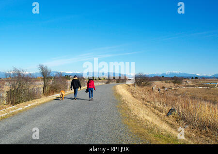A couple and their dog walking along the Boundary Bay Dyke Trail in Tsawwassen,  British Columbia, Canada. - Stock Image