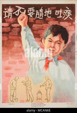 A boy in a white shirt with a red necktie is in front of a red brick wall holding up one fist. Smaller imaging below shows a man spit in a chamber pot or in a napkin, and burn the used napkin in a stove. - Stock Image
