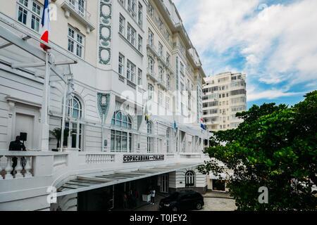Rio de Janeiro, Brazil, March 17, 2019: Main extrance to the luxurious Copacabana Palace Belmond in Copacabana, Rio de Janeiro, Brazil - Stock Image