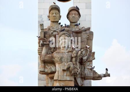 Cambodia-Vietnam Friendship Monument in Botum Park, Phnom Penh, Cambodia. - Stock Image