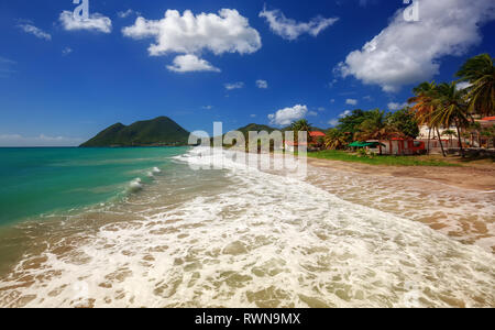 Amazing sandy beach with coconut palm tree and blue sky, Martinique, Caribbean. Le Diamant Beach. - Stock Image