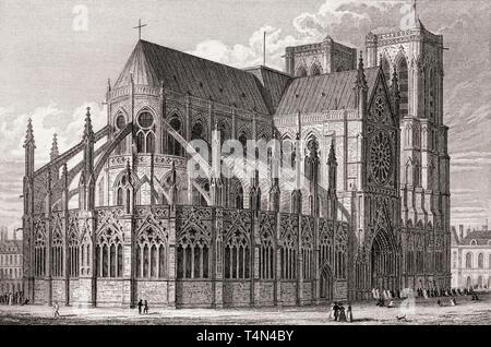Notre-Dame de Paris, antique steel engraved print, 1831 - Stock Image