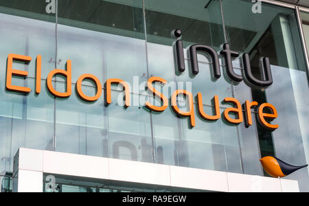 INTU logo at the entrance to the Eldon Square shopping centre, Newastle, north east England, UK - Stock Image