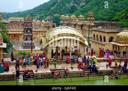 Galtaji Temple Complex, Jaipur, Rajasthan,India - Stock Image