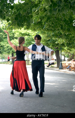 Greek dancers Spianada Kerkyra Corfu - Stock Image