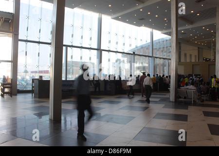 Departure hall of the Murtala Muhammed domestic terminal, Ikeja, Lagos. - Stock Image