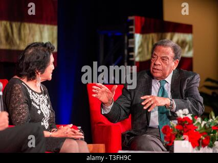 Texas, USA. 08th Apr, 2019. Longtime civil rights leaders Dolores Huerta, left, and Andrew Young, right, discuss social justice efforts during the Summit on Race in America at the LBJ Presidential Library April 8, 2019 in Austin, Texas. Huerta, a Presidential Medal of Freedom recipient, co-founded the United Farm Workers of America with Cesar Chavez in the 1960s and has spent decades advocating for laborers, women, and children. Young, a key lieutenant to Martin Luther King, Jr. in the civil rights movement of the 1960s, has served as mayor of Atlanta, U.S. congressman from Georgia, and U.S. A - Stock Image