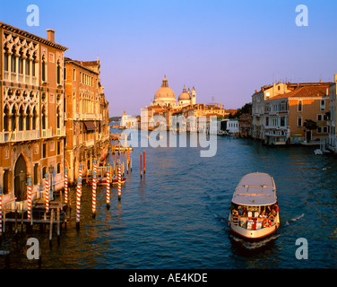 Italy Venice Canale Grande background Santa Maria della Salute church sunset - Stock Image