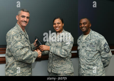 U.S. Air Force Col. Daniel Lasica, 20th Fighter Wing (FW) commander, left, and Chief Master Sgt. Christopher McKinney, - Stock Image