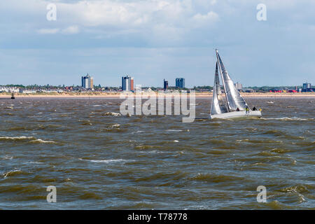 Yacht on the river Mersey. - Stock Image