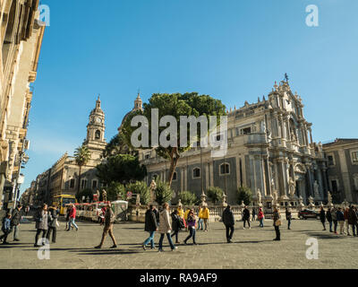 PIazza del Duomo with the Cathedral of Saint Agatha (Sant'Agata), Catania, Sicily, Italy. - Stock Image
