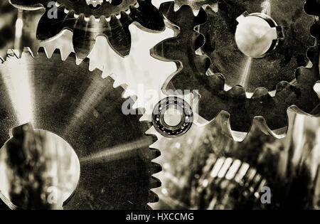 gears, cogs and bearings, engineering parts for the aerospace industry - Stock Image