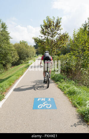 Freiburg im Breisgau FR1 cycle lane, Baden-Wurttemberg, Germany, Europe - Stock Image