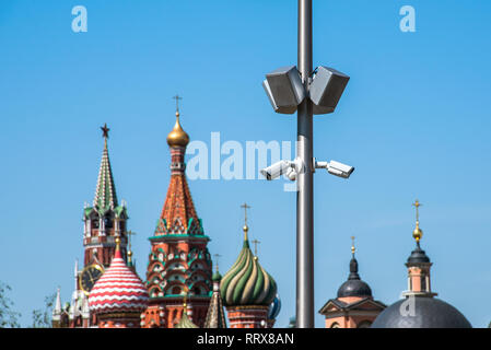 Multi-angle CCTV cameras with Moscow Kremlin in background - Stock Image