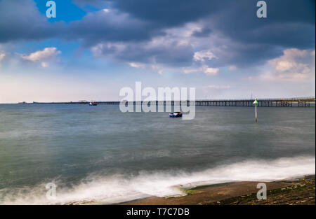 Southend-on-Sea Pier reaching out 1.3 mile into the Thames esturay Essex England UK. April 2019 - Stock Image
