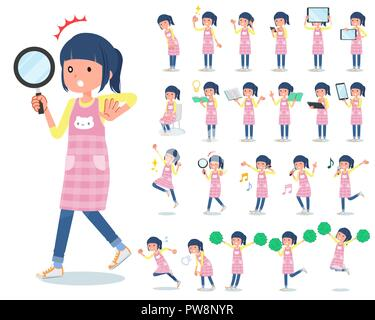 A set of Childminder women with digital equipment such as smartphones.There are actions that express emotions.It's vector art so it's easy to edit. - Stock Image