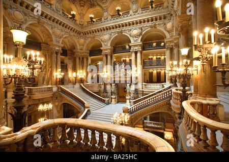 OPERA GARNIER MAIN HALL PARIS - Stock Image
