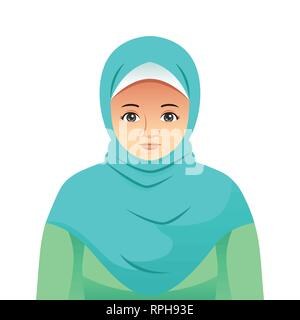A vector illustration of Portrait of Beautiful Muslim Woman - Stock Image