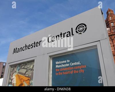 Manchester central sign, Exhibition centre Lancashire England UK - Stock Image