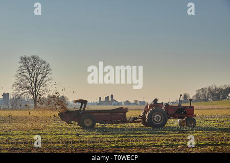A manure spreader at work on a Lancaster County, Pennsylvania farm. - Stock Image