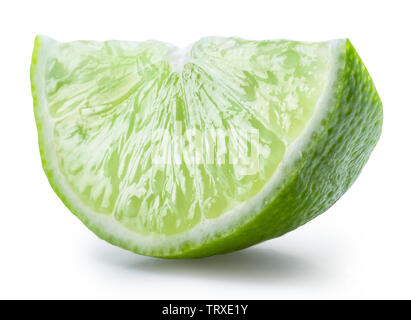 Ripe lime slice on white background. File contains clipping path. - Stock Image