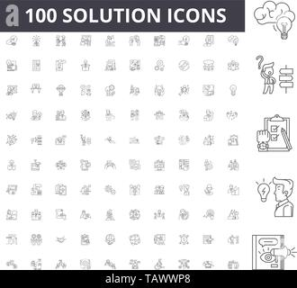 Solution line icons, signs, vector set, outline illustration concept  - Stock Image