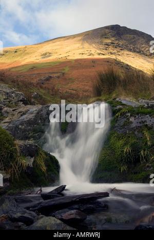 Waterfall below Blanecathra saddle back mountain peak Lake District National Park Cumbria for sale UK England United - Stock Image