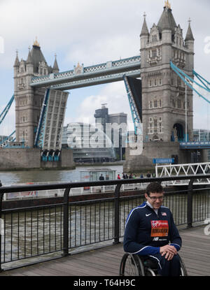 London,UK,29th April 2019,Daniel Romanchuk(USA) attends The London Marathon Winners photocall which took place outside the Tower Hotel. Credit: Keith Larby/Alamy Live News - Stock Image