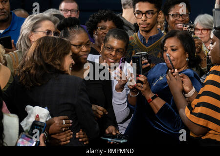 North Charleston, United States. 15th Feb, 2019. Senator Kamala Harris poses for selfies with supporters following a town hall meeting during her campaign for the Democratic presidential nomination February 15, 2019 in North Charleston, South Carolina. South Carolina is the first southern democratic primary for the presidential race. Credit: Planetpix/Alamy Live News - Stock Image