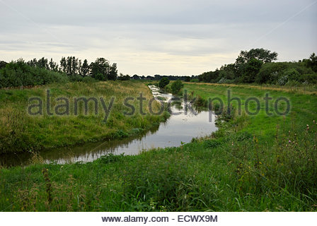 This unremarkable little river is the Treene, the artery by which Viking ships were transported to the North Sea - Stock Image