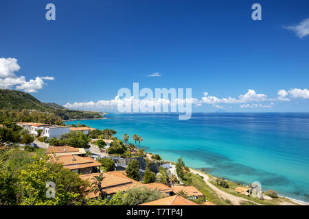 Panorama with the coastline in Calabria, in South of Italy. Colorful Panorama from the road to Tropea. - Stock Image