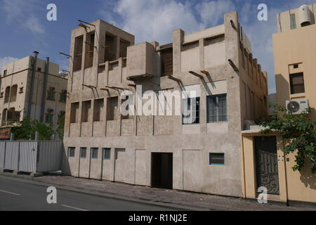 Al Alawi House with wind tower, located on the Pearl Trail, Muharraq, Kingdom of Bahrain - Stock Image