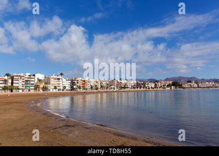 Puerto de Mazarron beach Murcia Spain with blue sky and sea - Stock Image