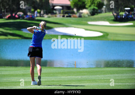 Rancho Mirage, California, USA. 2nd Apr, 2017. Jessica Korda on the 6th hole during the final round of the ANA Inspiration - Stock Image
