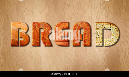 Bread word covered in bread crust texture on a wooden cutting board - Stock Image