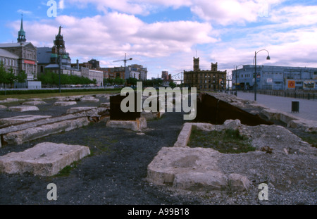 The remnants of industry converted into an urban park in front of a government building Montreal Canada Remainders - Stock Image