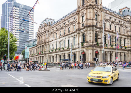 Melbourne, Australia - 21st February 2018: The old post office. It is situated on the corner of Elizabeth street and Bourke street. - Stock Image