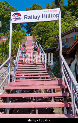 Stairs to Railay hilltop, East Railay, Railay, Krabi province, Thailand - Stock Image