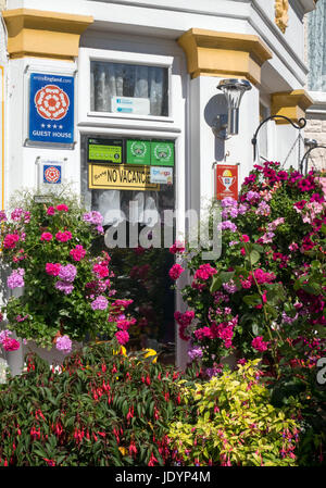 Accredited and colourfully floral decked Guest House with No Vacancies sign in Great Yarmouth, Norfolk, England, - Stock Image