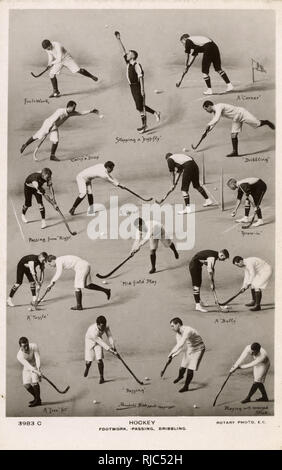 Hockey - Footwork, Dribbling and Passing demonstrated. - Stock Image